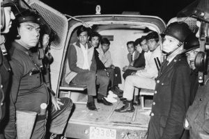 (Original Caption) 10/3/1968-Mexico City, Mexico- Police have captured a van full of students after sealing off and searching all buildings on Tlatelolco Plaza.